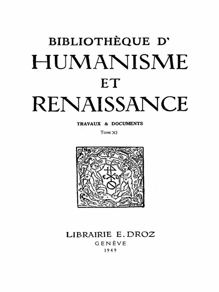 e9b38a8fae116b Bibliotheque d Humanisme Et Renaissance Tome Xi Nos. 1-2-1949