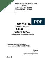 Referat Drept Canonic- Pedeapsa Cu Moartea Si Religia
