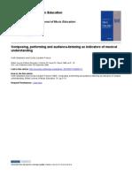 CAVALIERI; SWANWICK - Composing, Performing and Audience-listening as Indicators of Musical Understanding