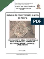 Perfil_Mejoramiento de La Pavimentación Lado Sur Sector Las Delicias Distrito de Reque