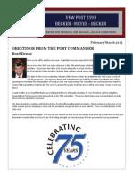 VFWPost2593 FEB/MAR 2015 Newsletter