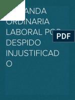 DEMANDA ORDINARIA LABORAL por despido injustificado