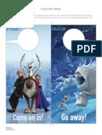 Disney Frozen Elsa Anna Olaf Marsh Door Hanger Printable 0913
