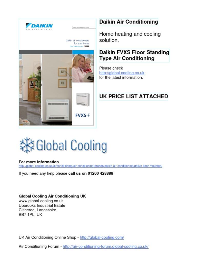 Daikin Floor Standing Air Conditioning FVXS Air Conditioning