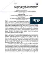 A Review on Factors Effecting on Tourism Policy Implementation-A Tool on the Development of the Tourism Industry in Islamic Republic of Iran