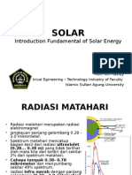 Introduction Fundamental of Solar Energy