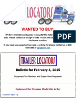 Wanted to Buy Bulletin - February 4, 2015