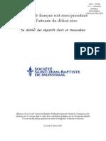 Pour que le français soit aussi prioritaire que l'atteinte du déficit zéro