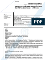 NBR 17025 - Requisitos Gerais Para Competencia de Laboratorios de Ensaio E Calibracao