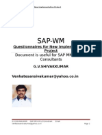 SAP Warehouse Management (WM) Questionnaires for New Implementation