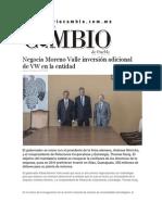05-02-2015 Diario Matutino Cambio - Negocia Moreno Valle Inversión Adicional de VW en La Entidad