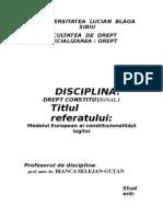 Tema de Control Dr. Constitutional- Modelul European de Control Al Constitutionalitatilor Legilor