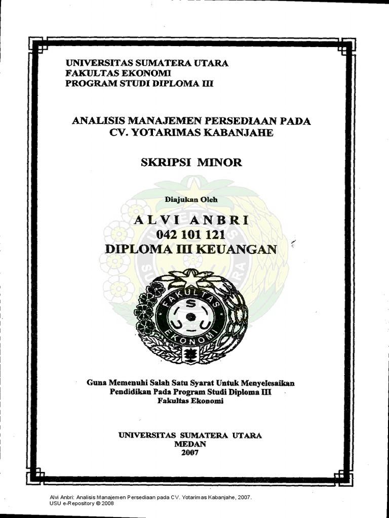 Alvi Anbri Analisis Manajemen Persediaan Pada Cv Yotarimas Kabanjahe 2007 Usu E Repository C 2008