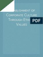 Establishment of Corporate Culture Through Ethical Values