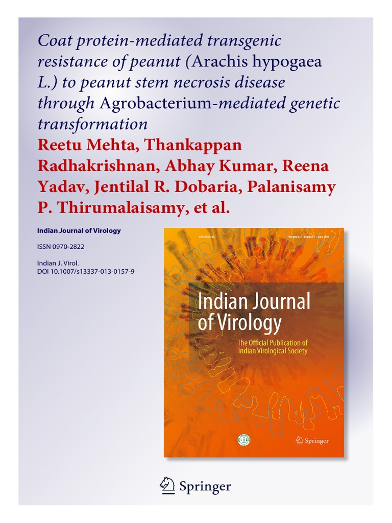 Coat protein-mediated transgenic resistance of peanut