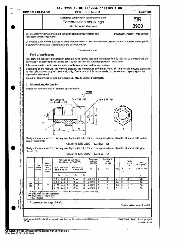 din 3900 1984 04 compression couplings screw pipe. Black Bedroom Furniture Sets. Home Design Ideas