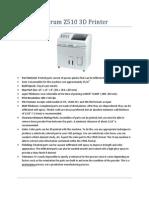 3D Printer Specs