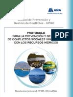 Protocolo para la prevención y gestión de conflictos sociales vinculados con los recursos hídricos
