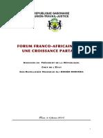 Discours d'Ali Bongo Ondimba, lors du forum Africa France pour la croissance partagée