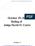 "RIVERNIDER v U.S. BANK - 47.6 - # 6 Exhibit ""5"" Oct. 29, 2009 Order of Judge Carter, U.S. District Court, Central District of CA, Southern Division - Gov.uscourts.flsd.342089.47.6"