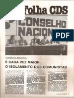 Folha CDS, nº 279 - 3 de Março de 1982