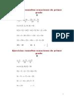 Ejercicios Resueltos Ecuaciones de Primer Grado
