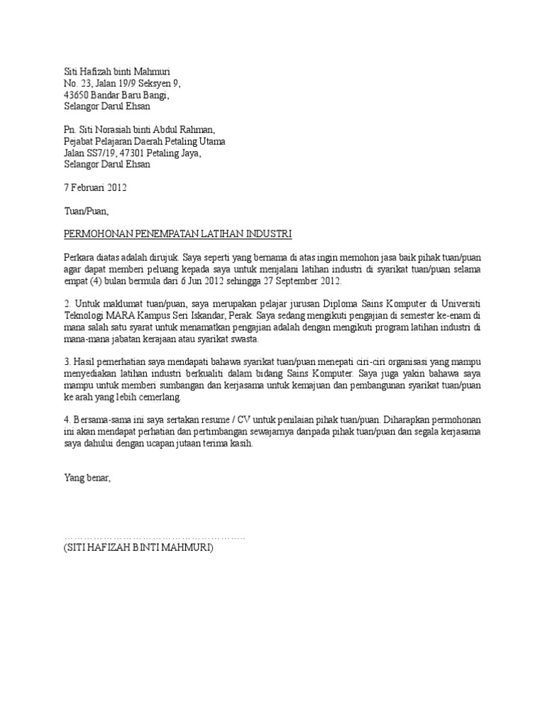 contoh cover letter juruteknik komputer
