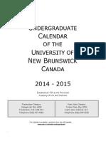 UNB Undergraduate Calendar 2014-2015