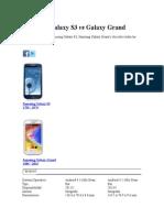Samsung Galaxy S3 vs Galaxy Grand