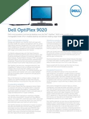 Dell OptiPlex 9020 Spec Sheet Final V2 G13001038   Desktop Computer
