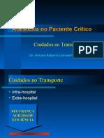 Anestesia no Paciente Crítico - Cuidados no transporte de pacientes
