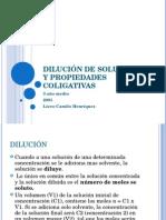 Dilucion de Soluciones y Propiedades Coligativas