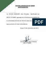 Declaracion Jurada de No Tener Antecedentes