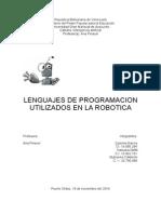 Lenguajes de Programacion en La Robotica