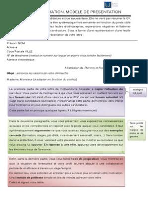 Lettre De Motivation Modele De Presentation Recherche D