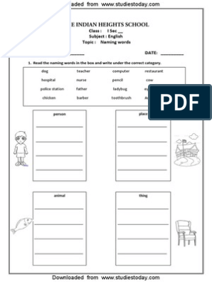 CBSE Class 1 English Worksheets (34) - Naming Words (2)