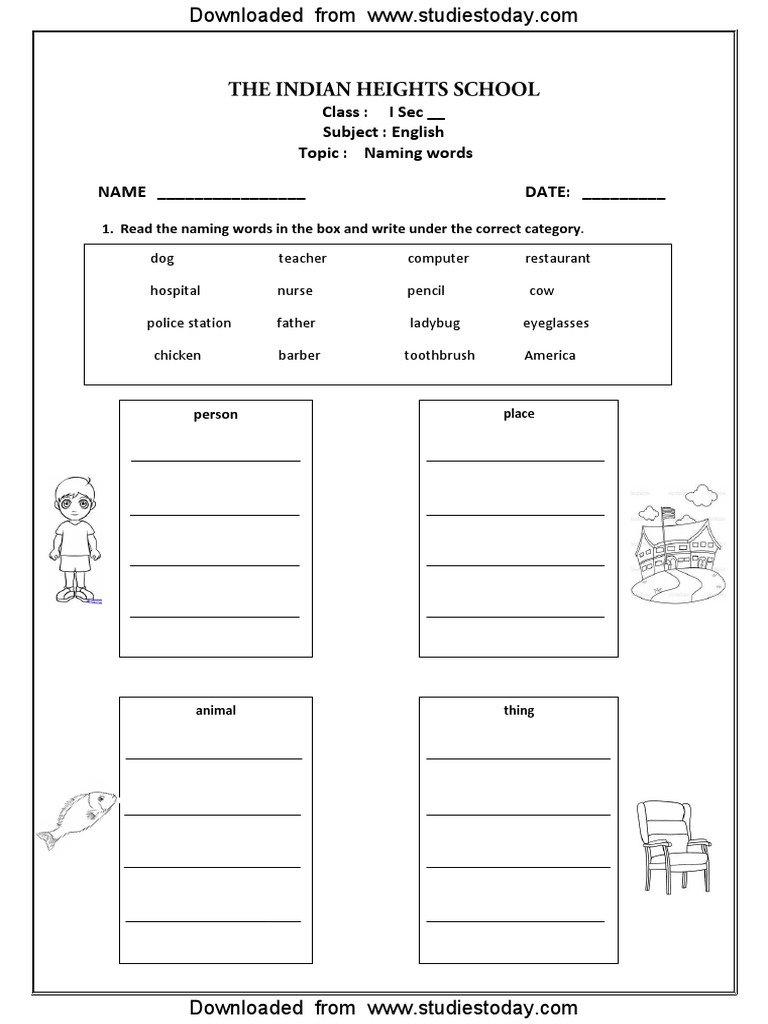 - CBSE Class 1 English Worksheets (34) - Naming Words (2)
