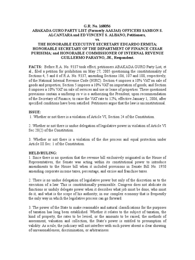 abakada vs ermita | value added tax | taxes
