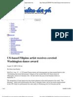 US-Based Filipino Artist Receives Coveted Washington Dance Award | Balita-dot-ph