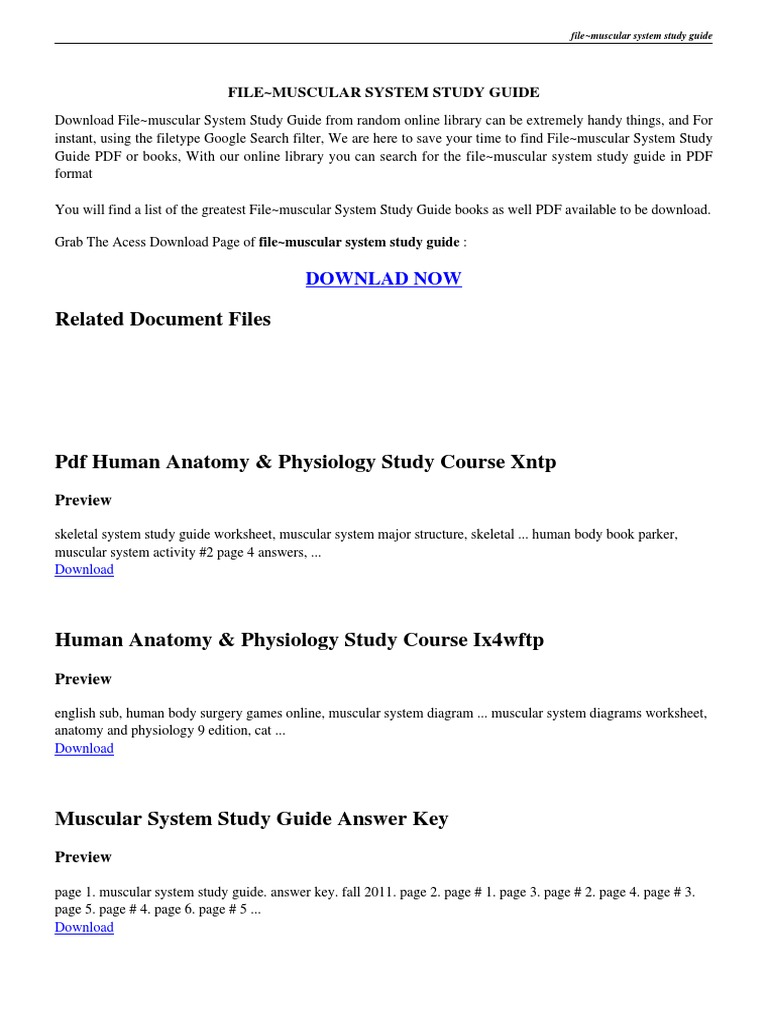 ANSWERS TO THE MUSCULAR SYSTEM STUDY GUIDE PDF | Muscle | Portable ...