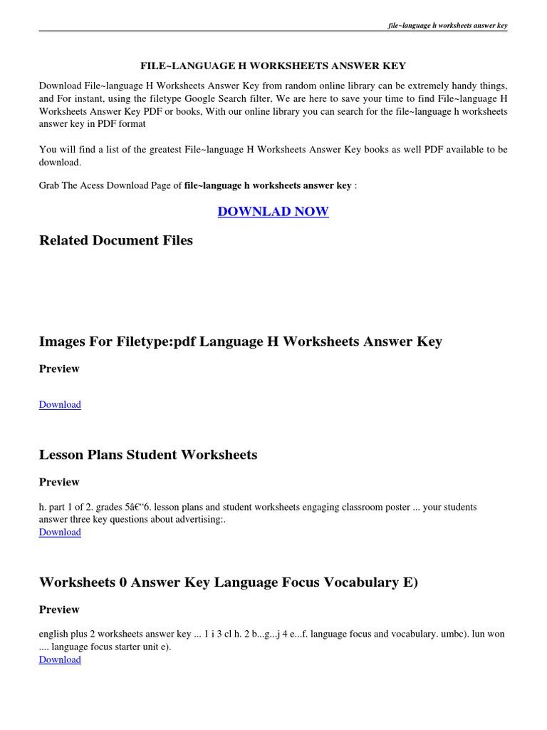 Language Handbook Worksheets Answer Key PDF – Elements of Literature Worksheets