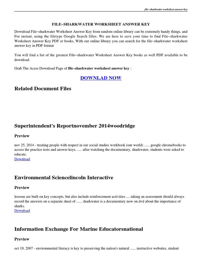 Sharkwater Worksheet Answers PDF Worksheet – Language Handbook Worksheets Answer Key Online