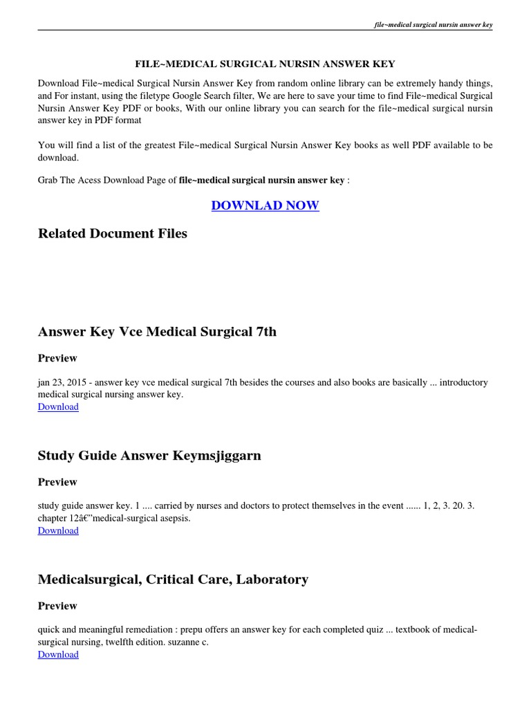 introduction to medical surgical nursing answer key pdf | Nursing |  Portable Document Format
