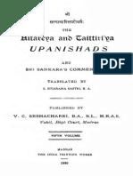 Aitareyataittiriya Upanishads With Shankara Bhashya. English Text