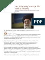 Iran's Khamenei Hints Ready to Accept Fair Nuclear Deal as Talks Proceed