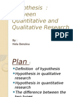 Hypothesis Between Quantitative and Qualitative Research