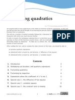 Factorising quadratics