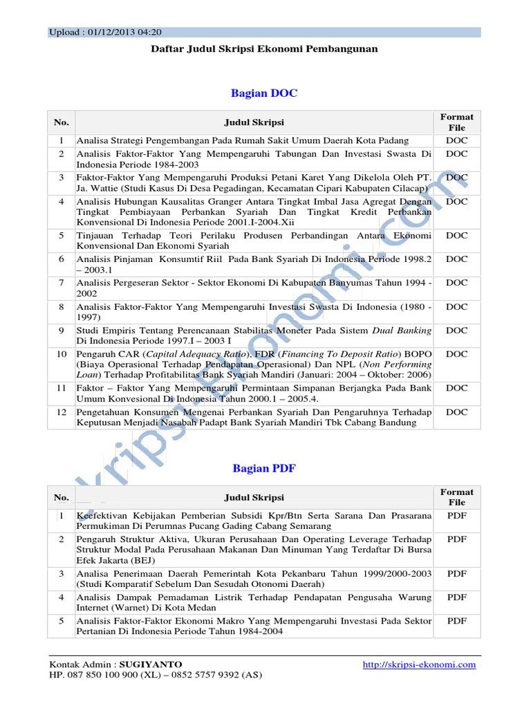 Daftar Judul Skripsi Ekonomi Pembangunan
