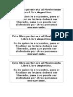 Este Libro Pertenece Al Movimiento Libro Libre Argentina