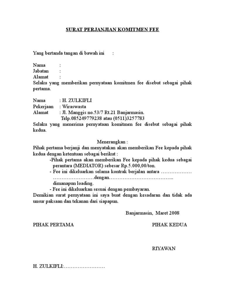 Surat Perjanjian Komitmen Fee1